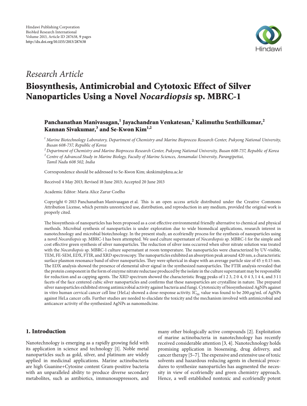 Biosynthesis, Antimicrobial and Cytotoxic Effect of Silver