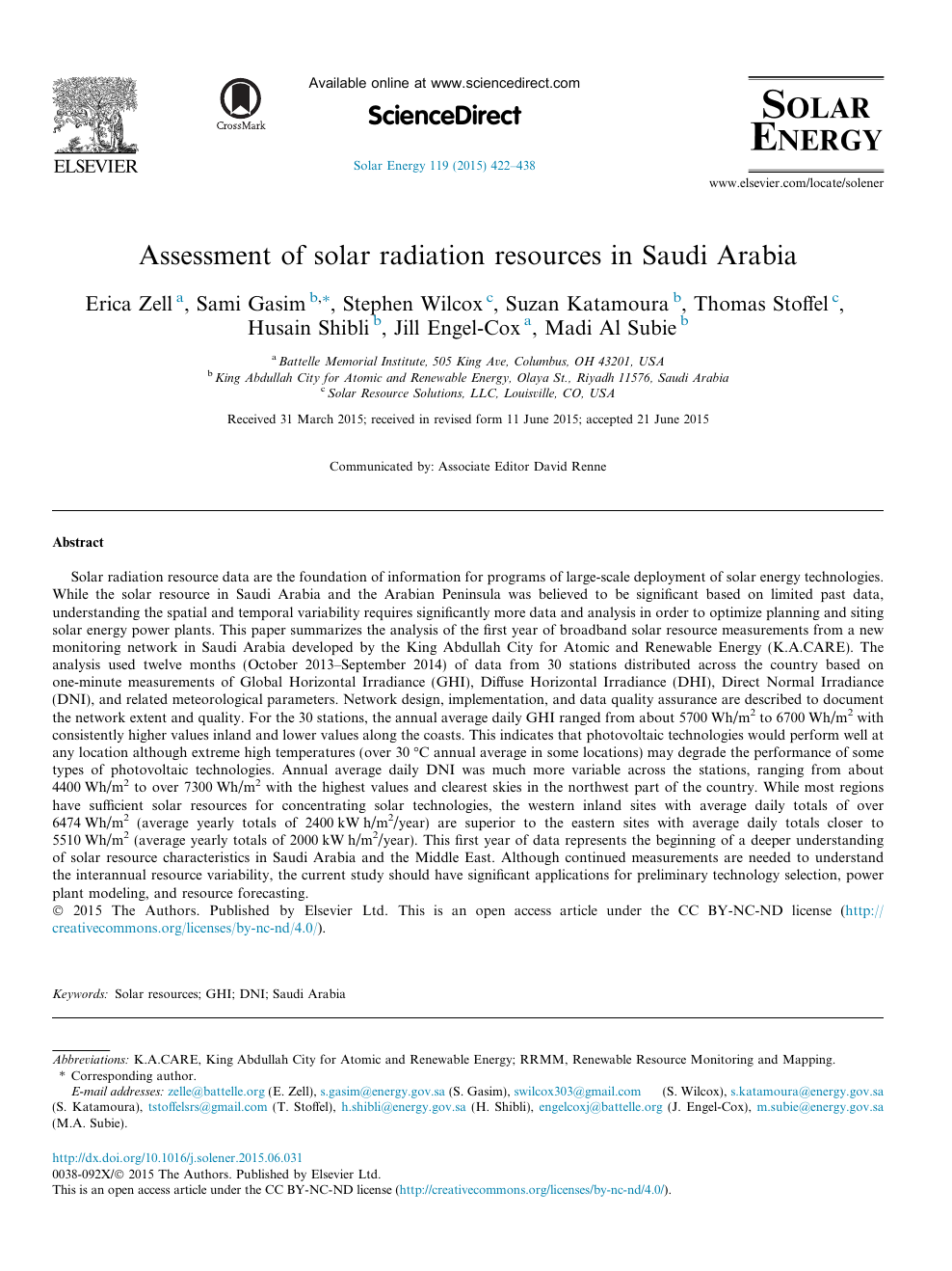 Assessment of solar radiation resources in Saudi Arabia – topic of