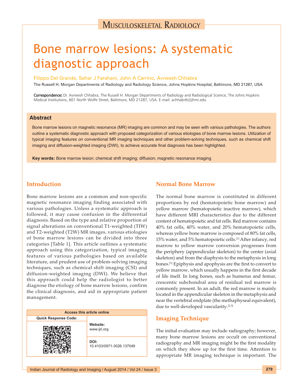 Bone marrow lesions: A systematic diagnostic approach