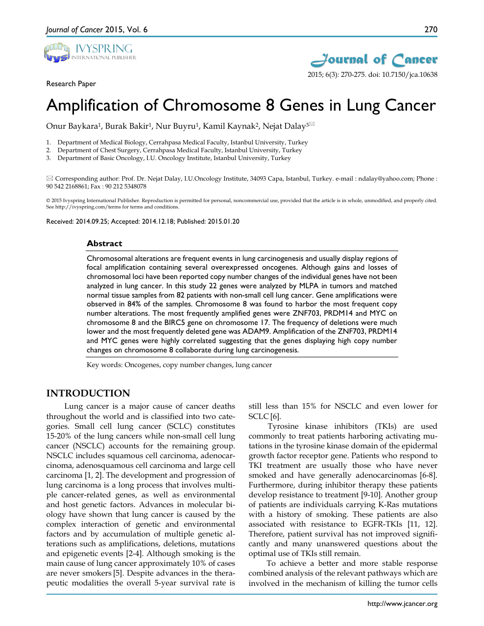 Amplification of Chromosome 8 Genes in Lung Cancer – topic of