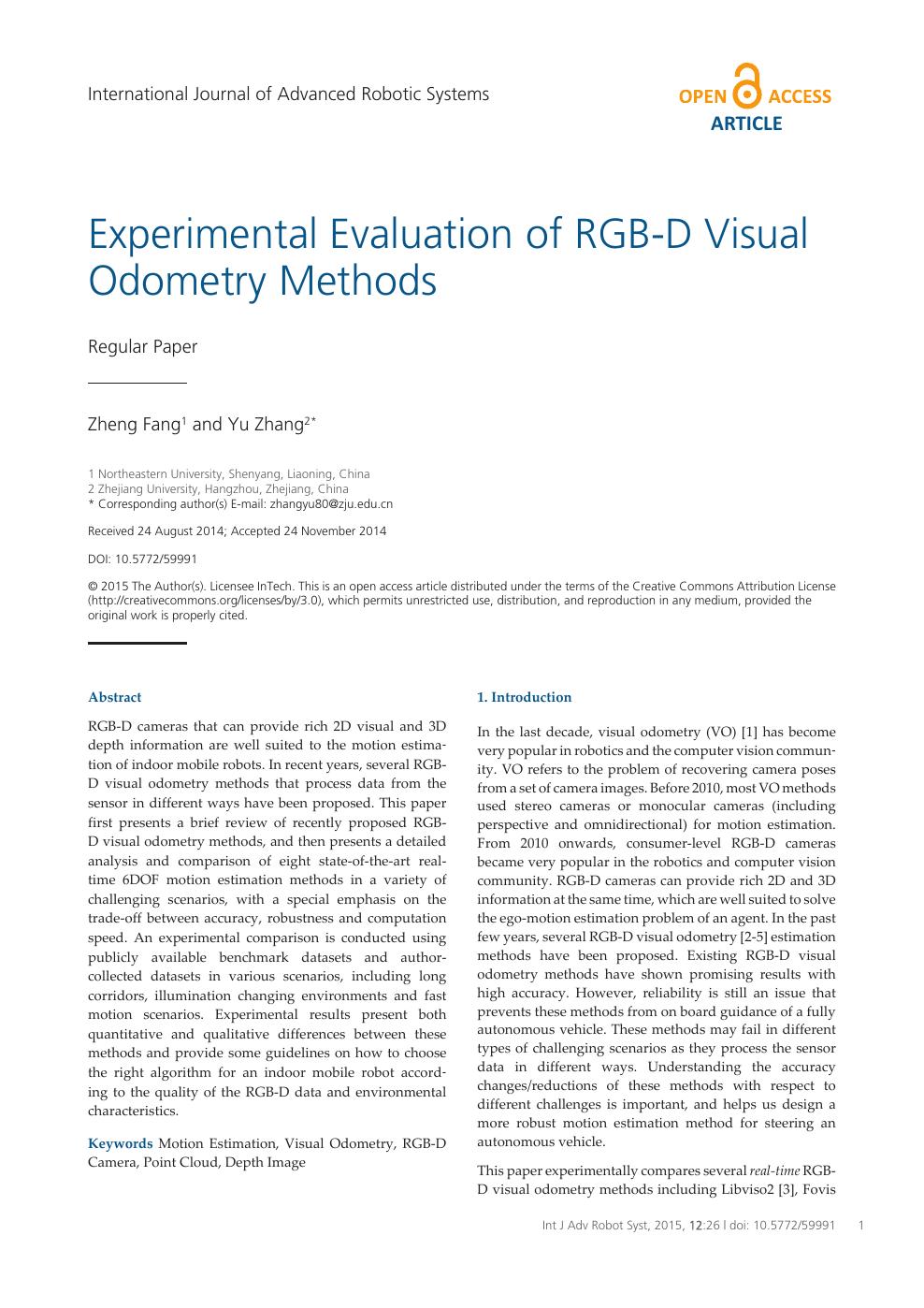 Experimental Evaluation of RGB-D Visual Odometry Methods