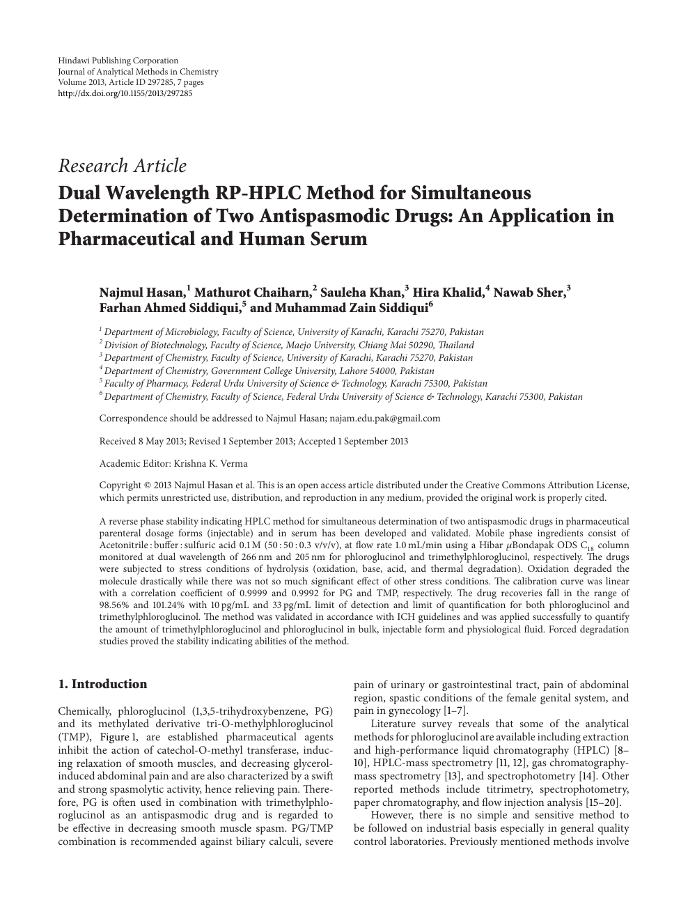 Dual Wavelength RP-HPLC Method for Simultaneous Determination of Two