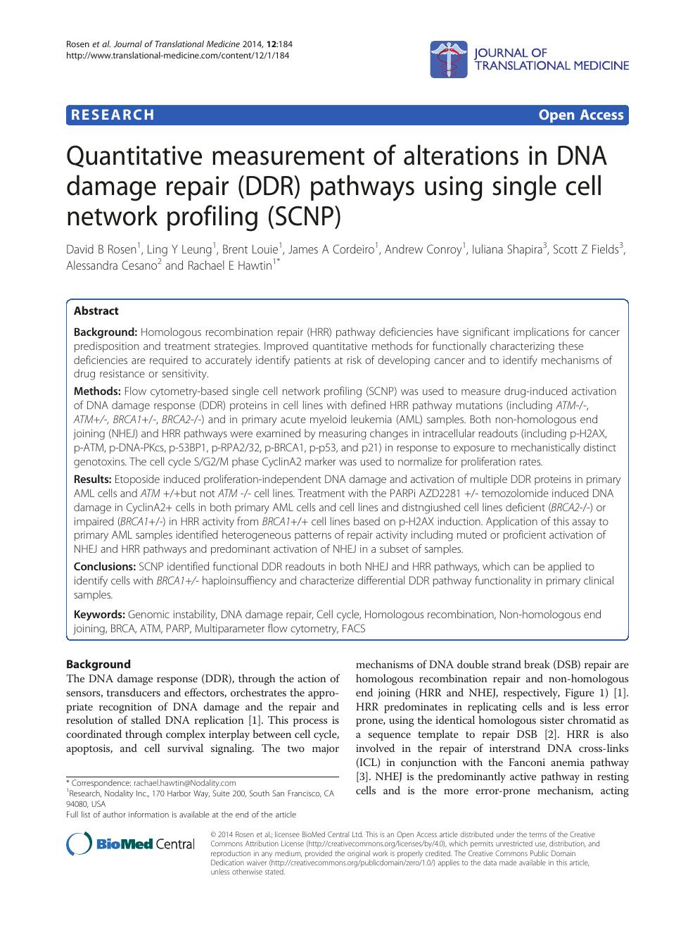 Quantitative measurement of alterations in DNA damage repair