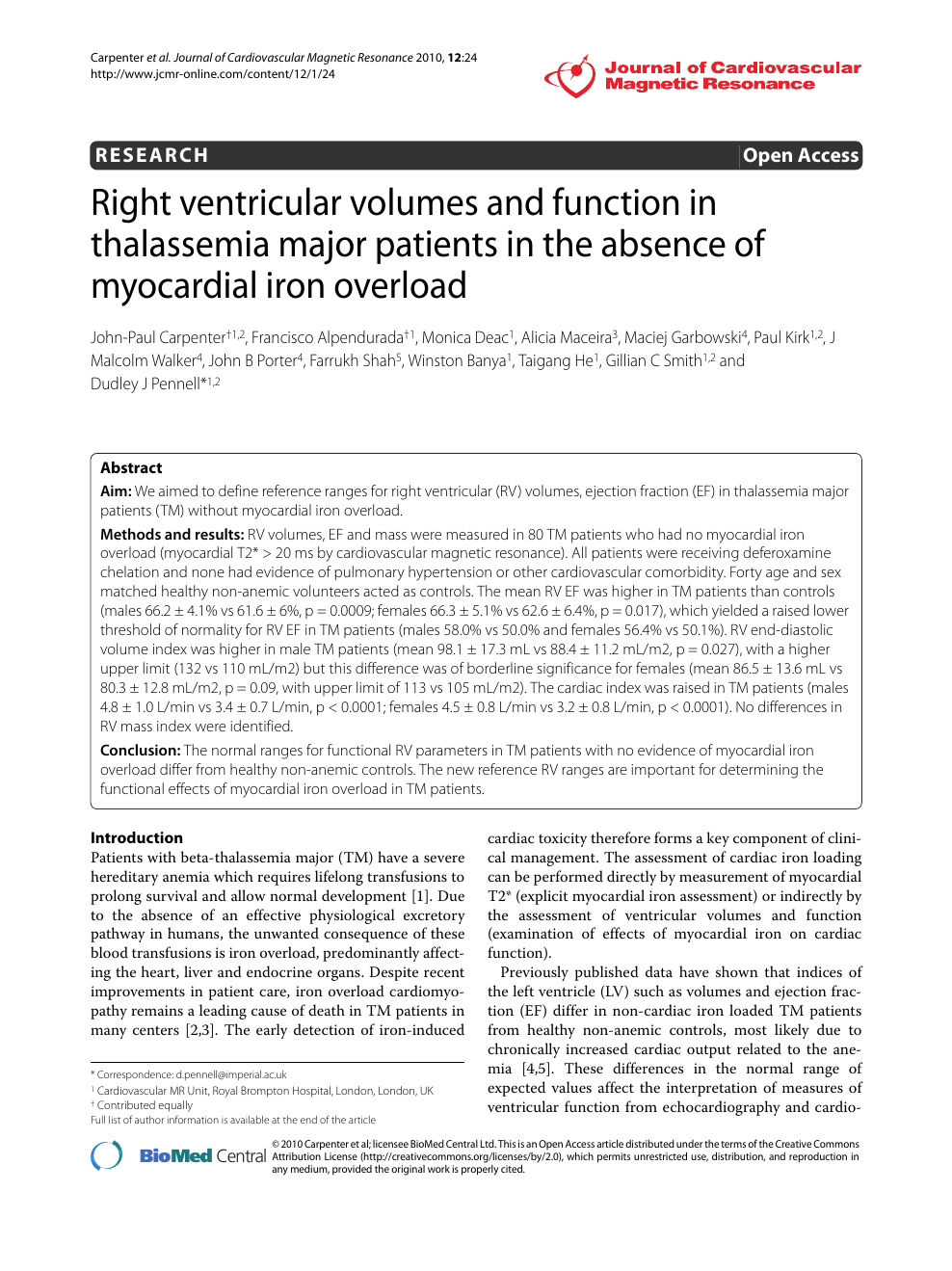 Right ventricular volumes and function in thalassemia major patients ...