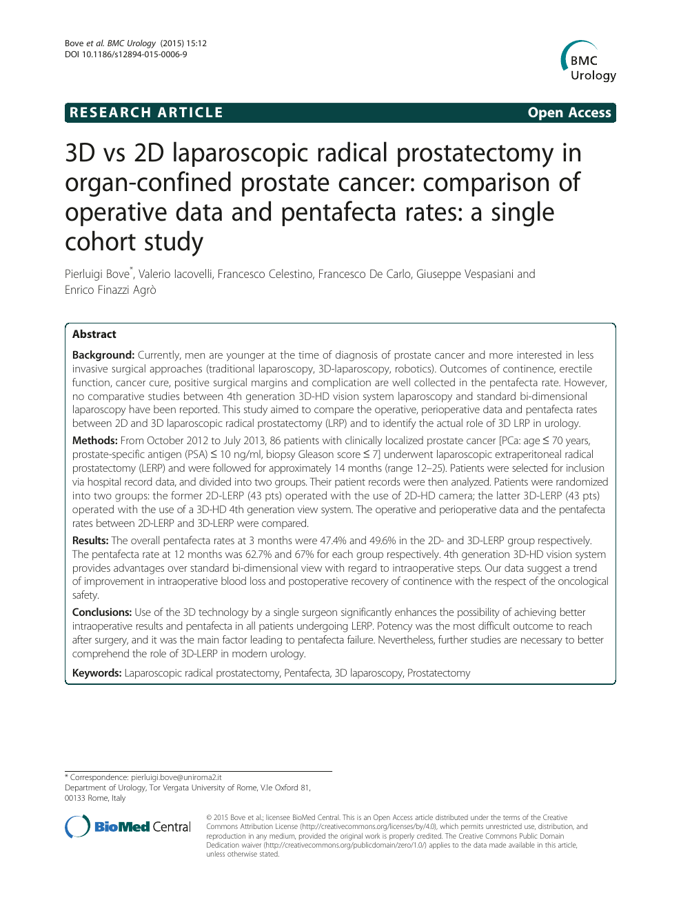 3d Vs 2d Laparoscopic Radical Prostatectomy In Organ Confined