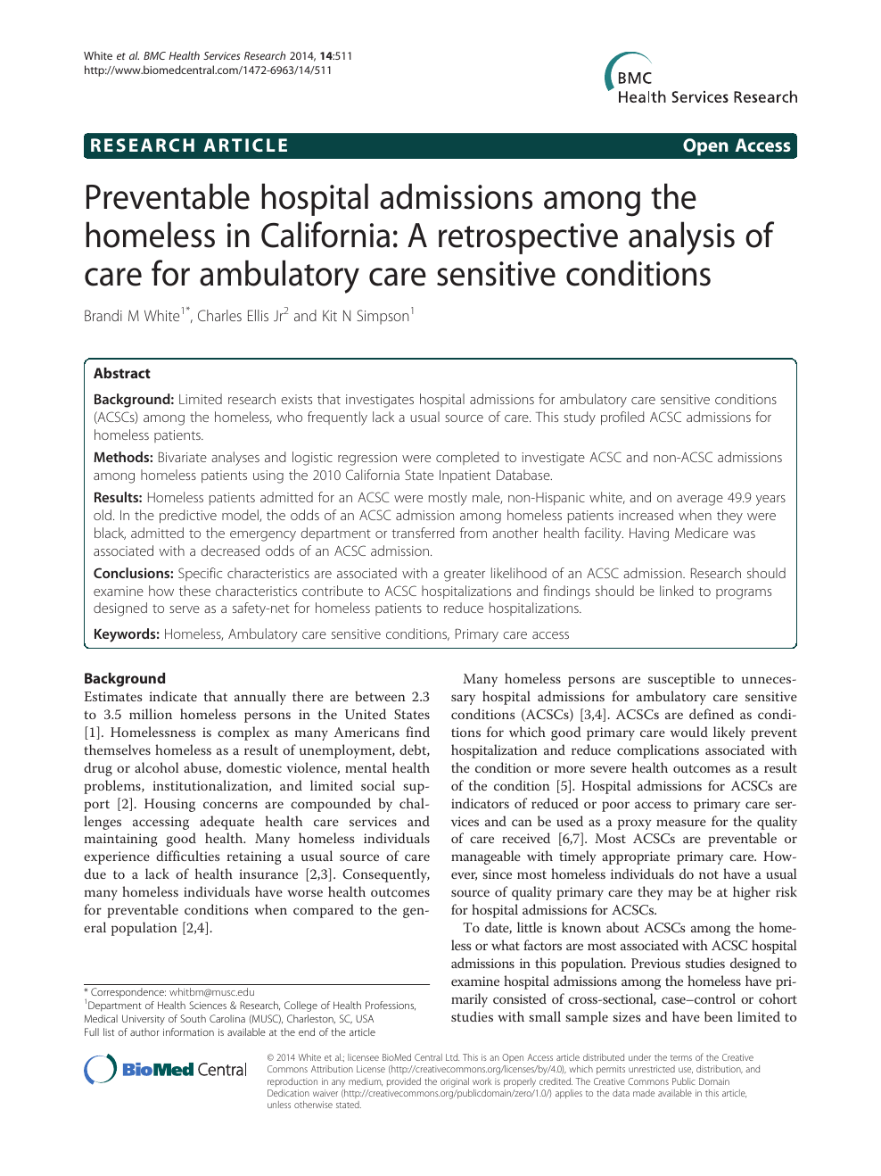 Preventable hospital admissions among the homeless in