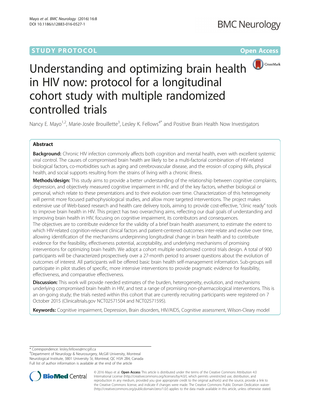 Understanding and optimizing brain health in HIV now: protocol for a