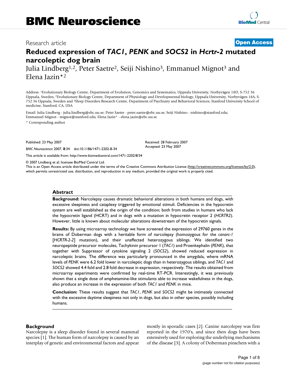 Reduced expression of TAC1, PENK and SOCS2 in Hcrtr-2