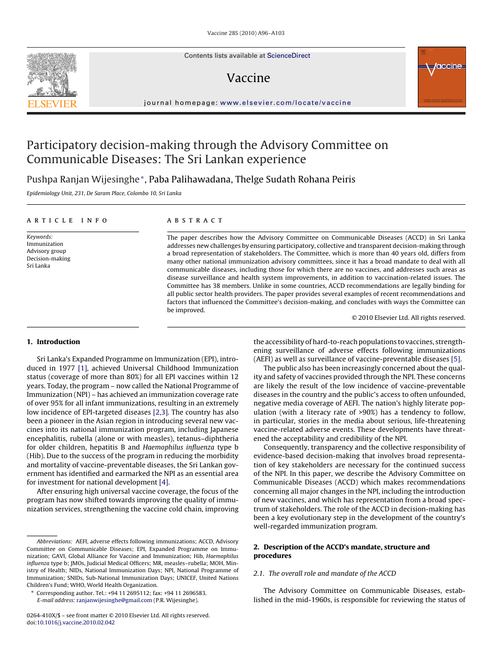 Participatory decision-making through the Advisory Committee