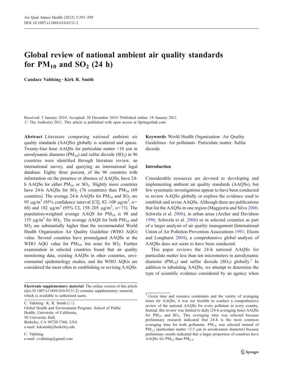 Global review of national ambient air quality standards for PM10 and