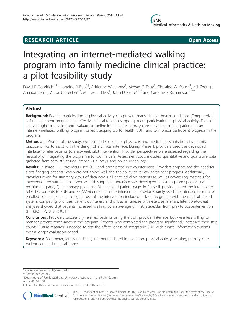 Integrating an internet mediated walking program into family
