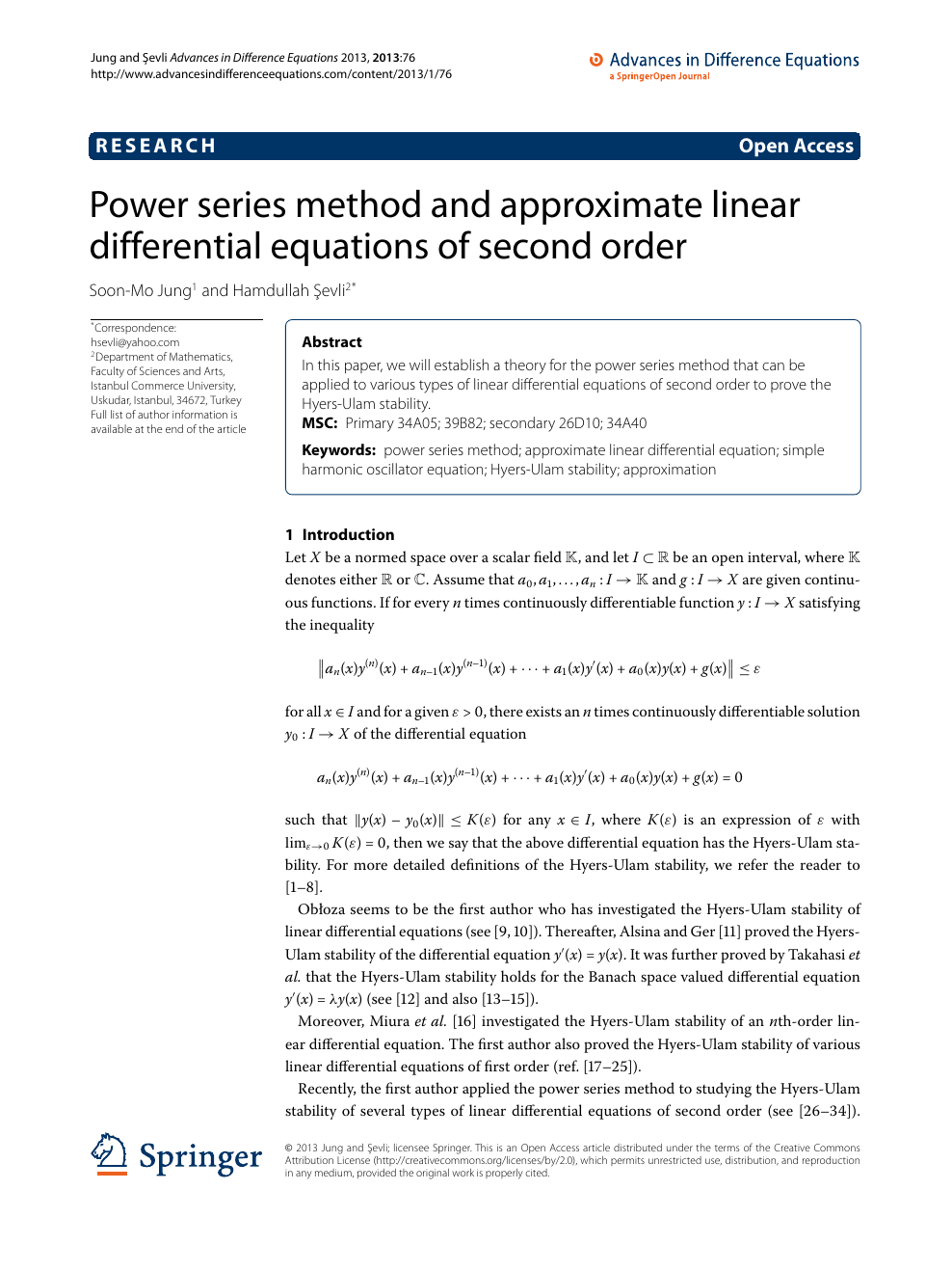 Power series method and approximate linear differential
