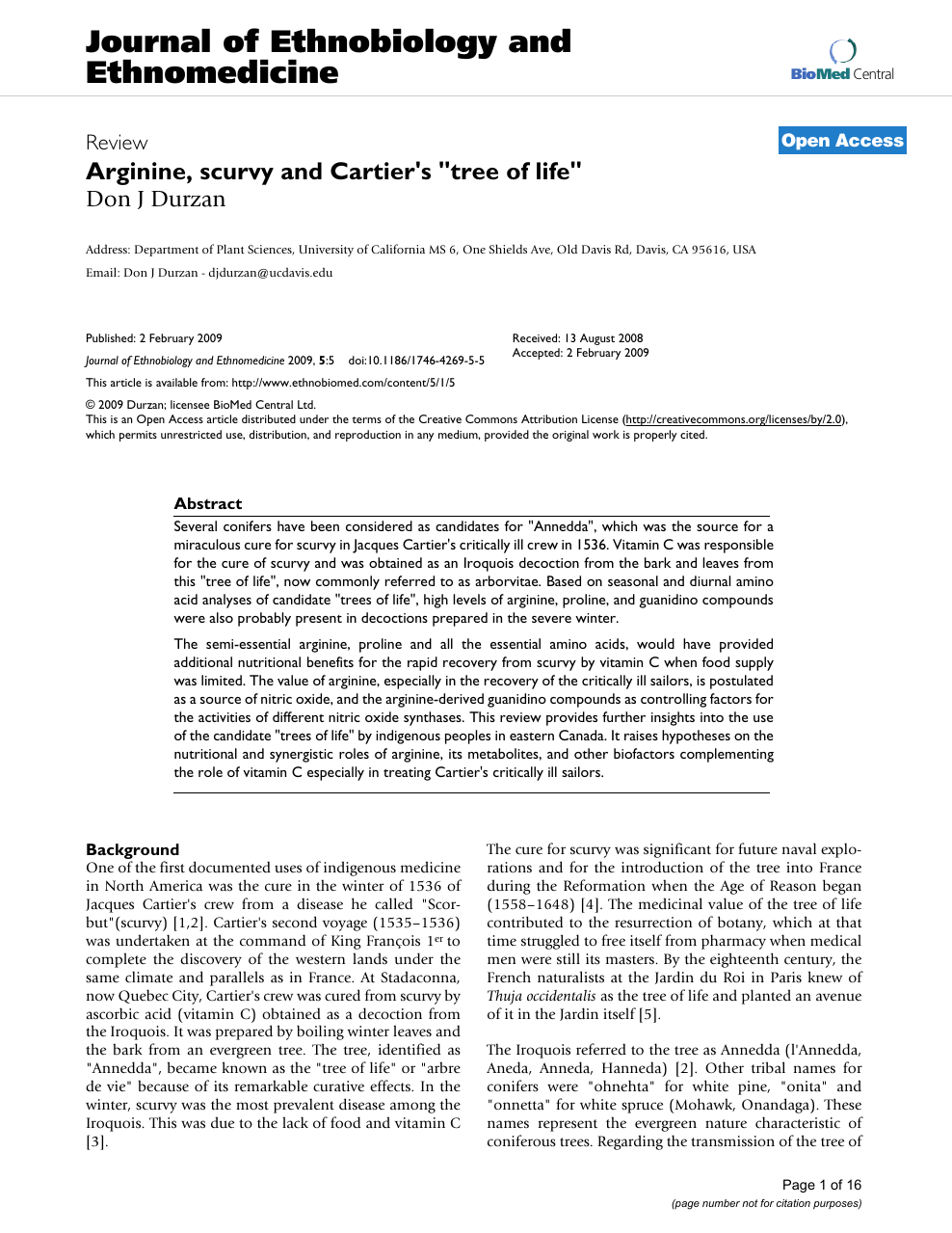 Arginine, scurvy and Cartier's