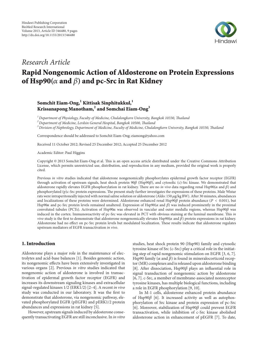 Rapid Nongenomic Action of Aldosterone on Protein