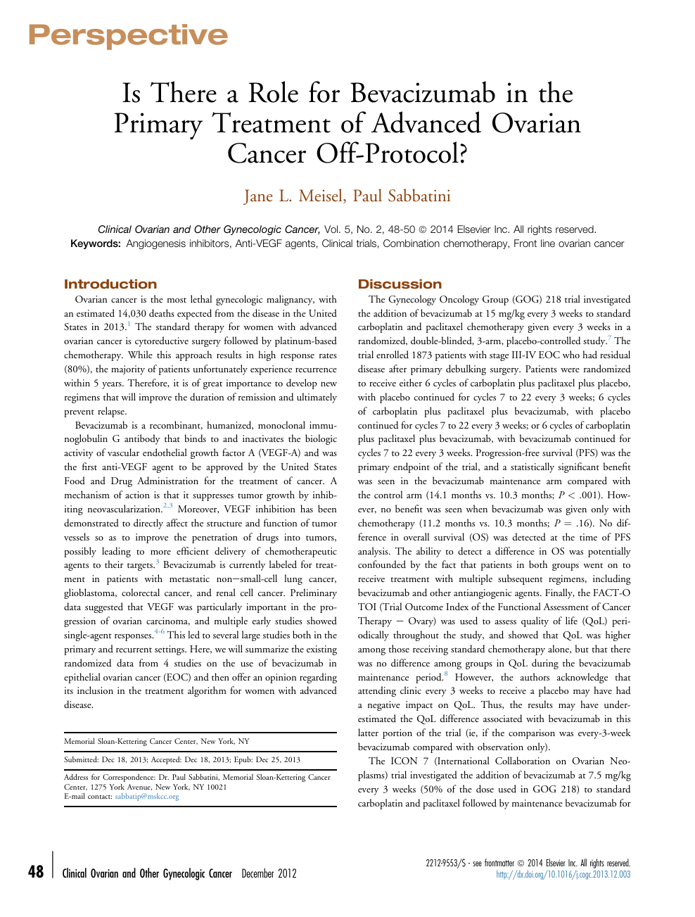 Is There A Role For Bevacizumab In The Primary Treatment Of Advanced Ovarian Cancer Off Protocol Topic Of Research Paper In Clinical Medicine Download Scholarly Article Pdf And Read For Free On