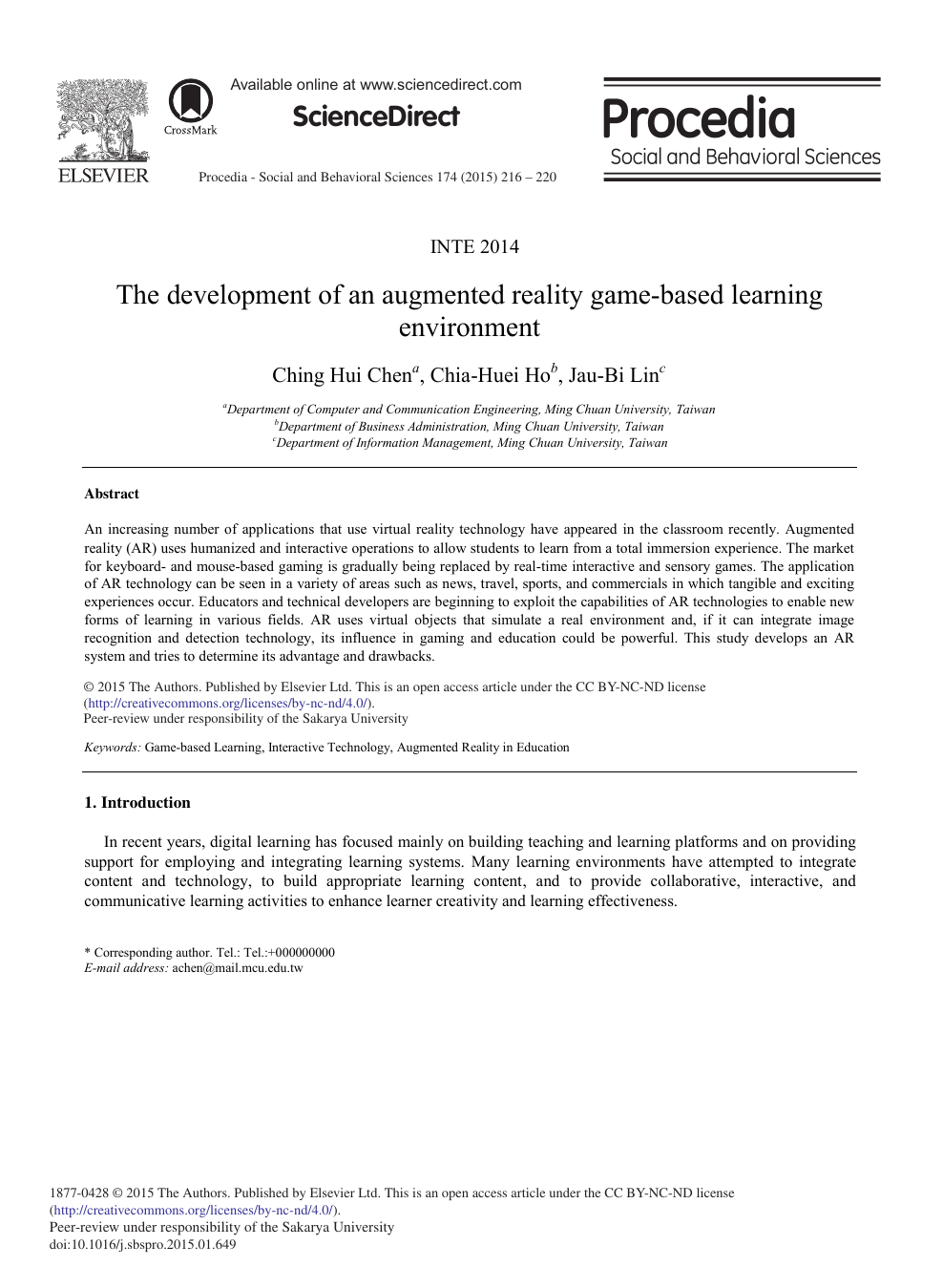 The Development of an Augmented Reality Game-based Learning