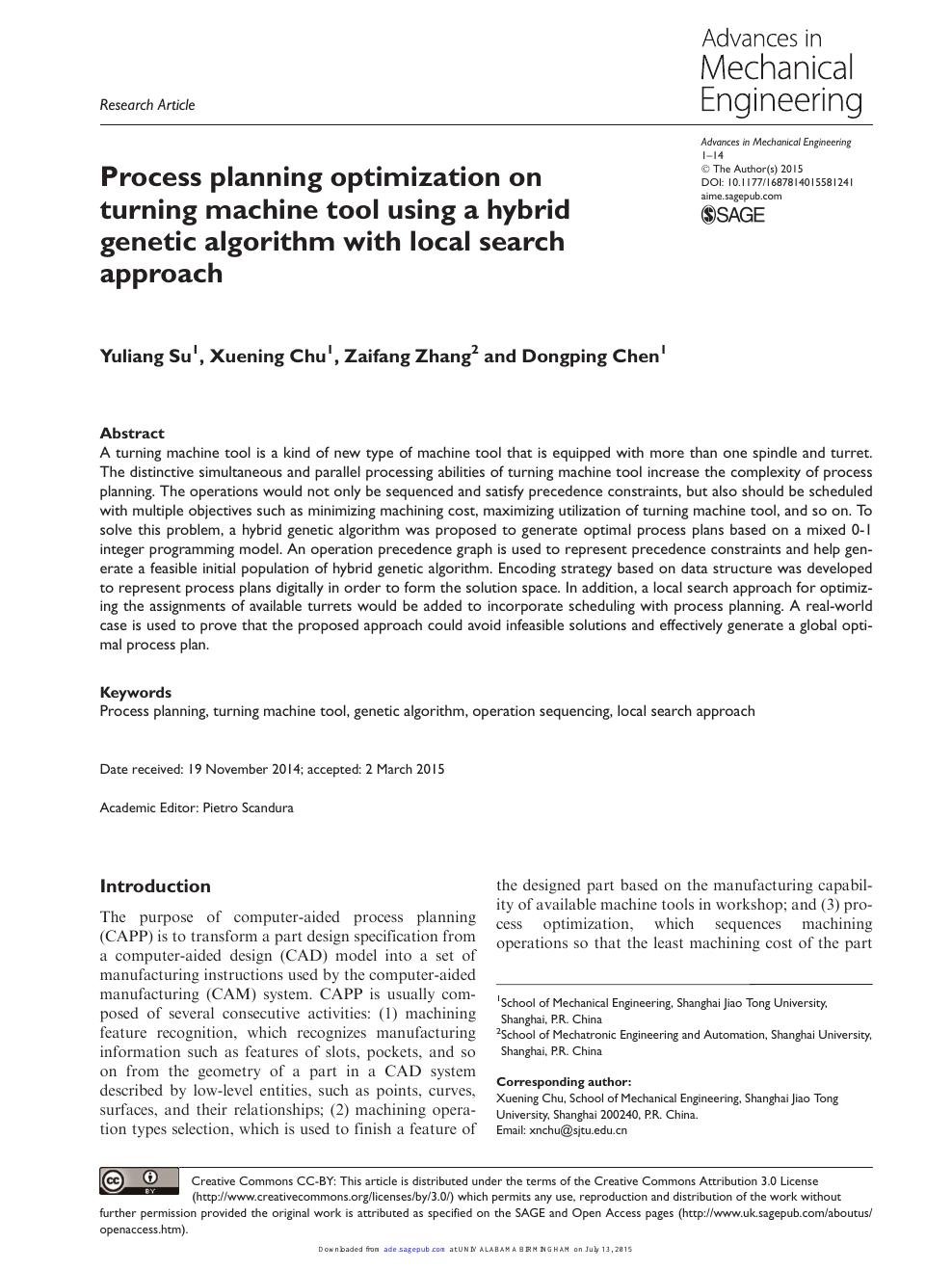 Process planning optimization on turning machine tool using
