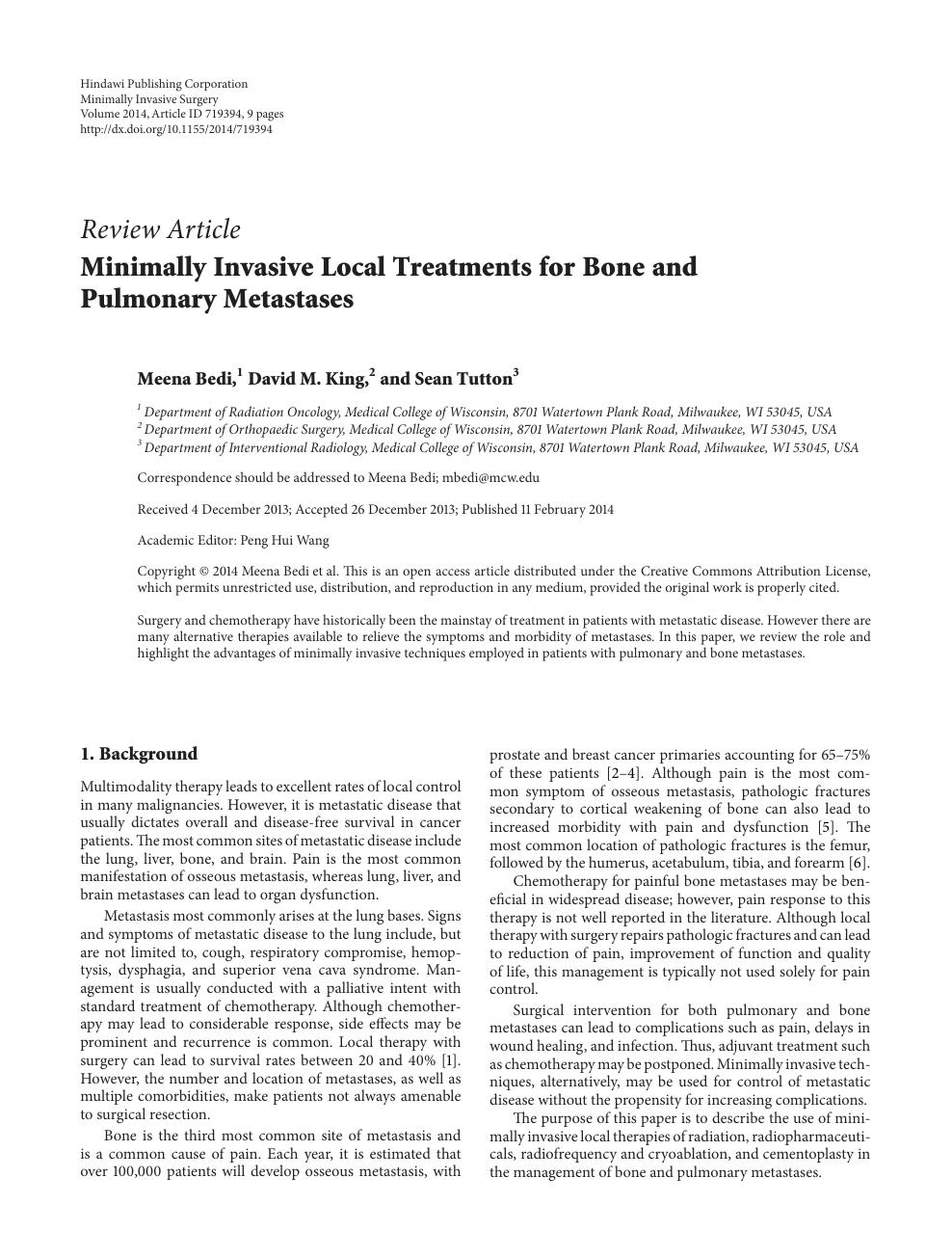 Minimally Invasive Local Treatments for Bone and Pulmonary