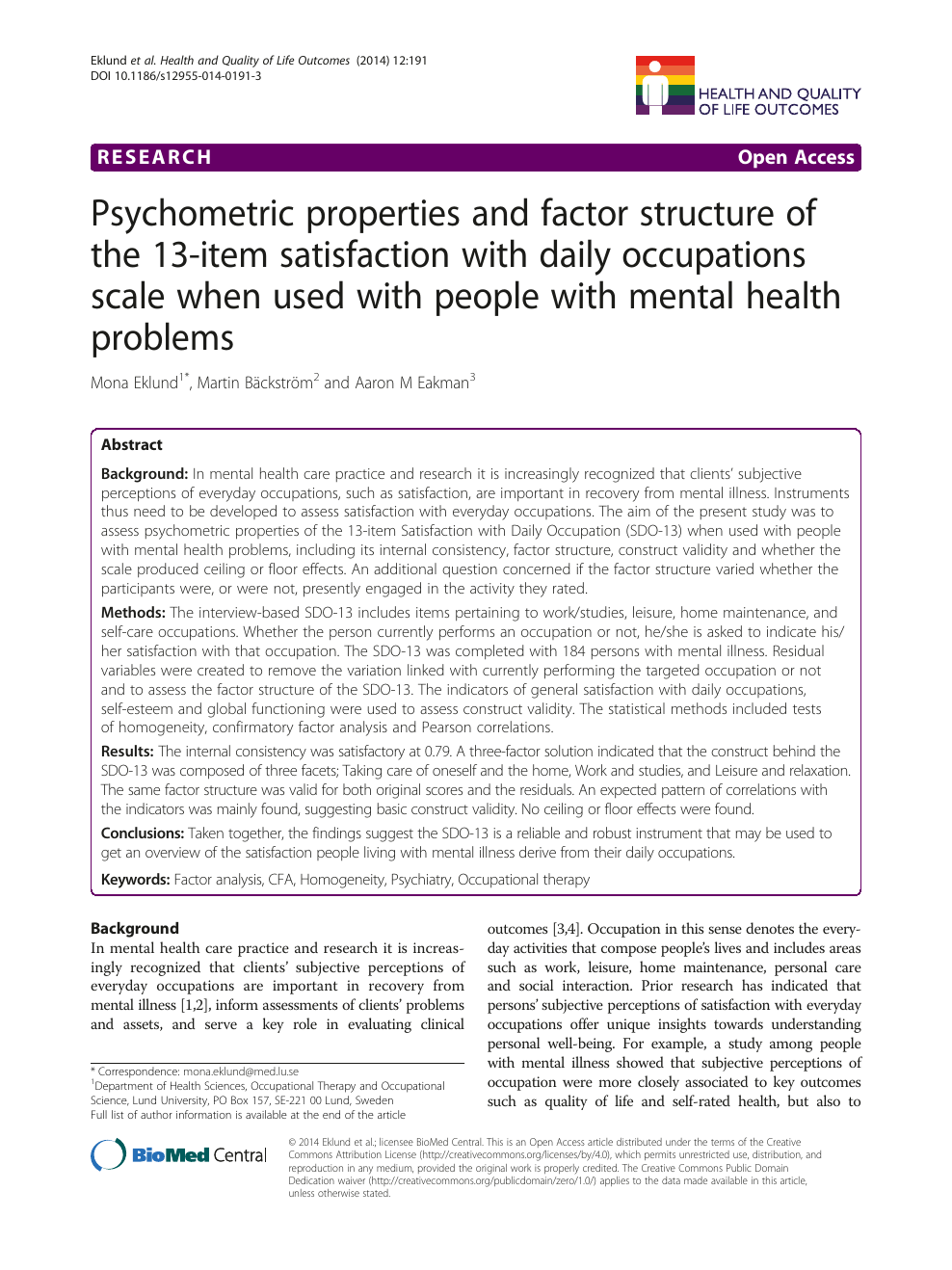 Psychometric Properties And Factor Structure Of The 13 Item Satisfaction With Daily Occupations Scale When Used With People With Mental Health Problems Topic Of Research Paper In Psychology Download Scholarly Article Pdf