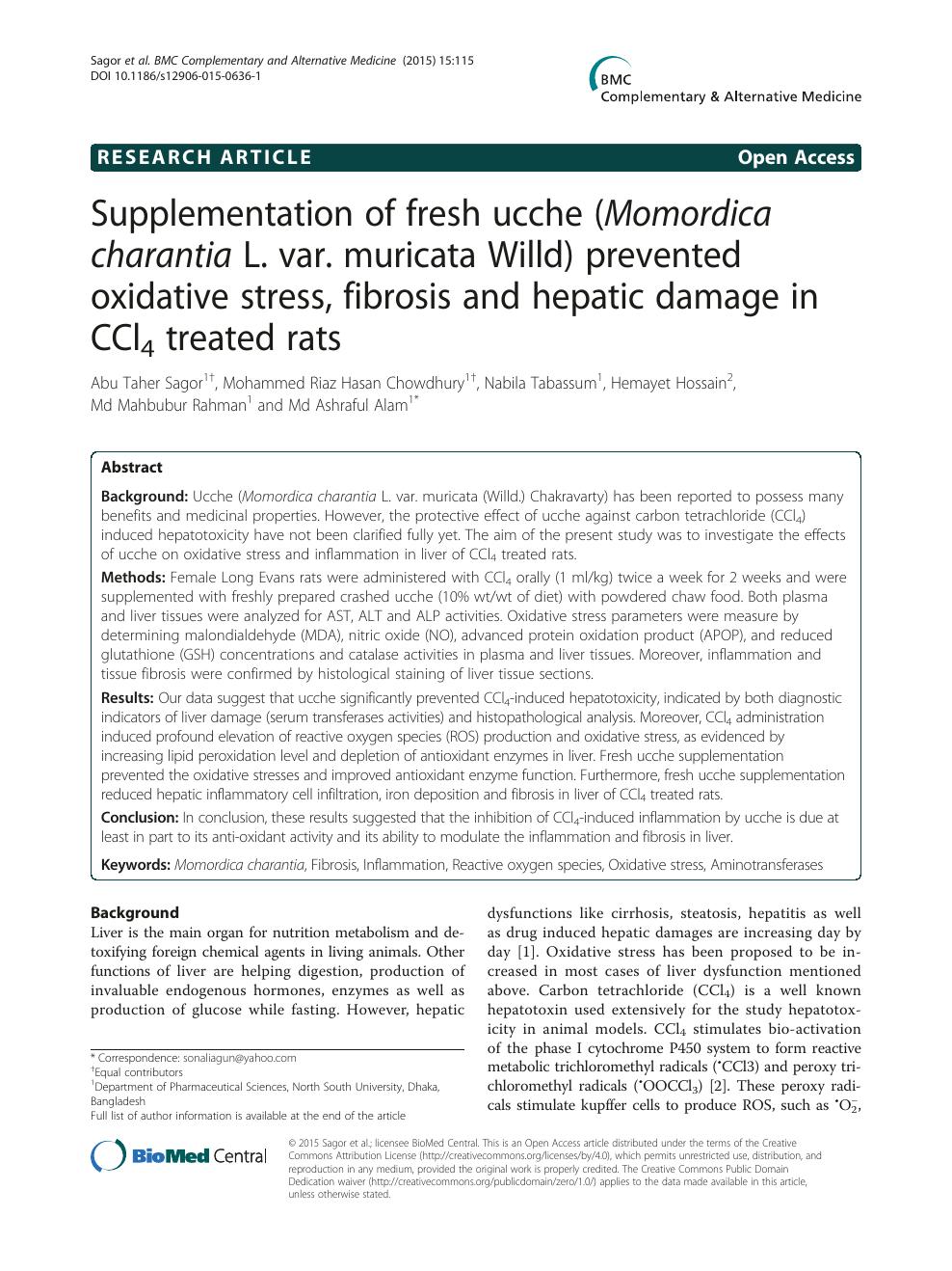 Supplementation of fresh ucche (Momordica charantia L  var