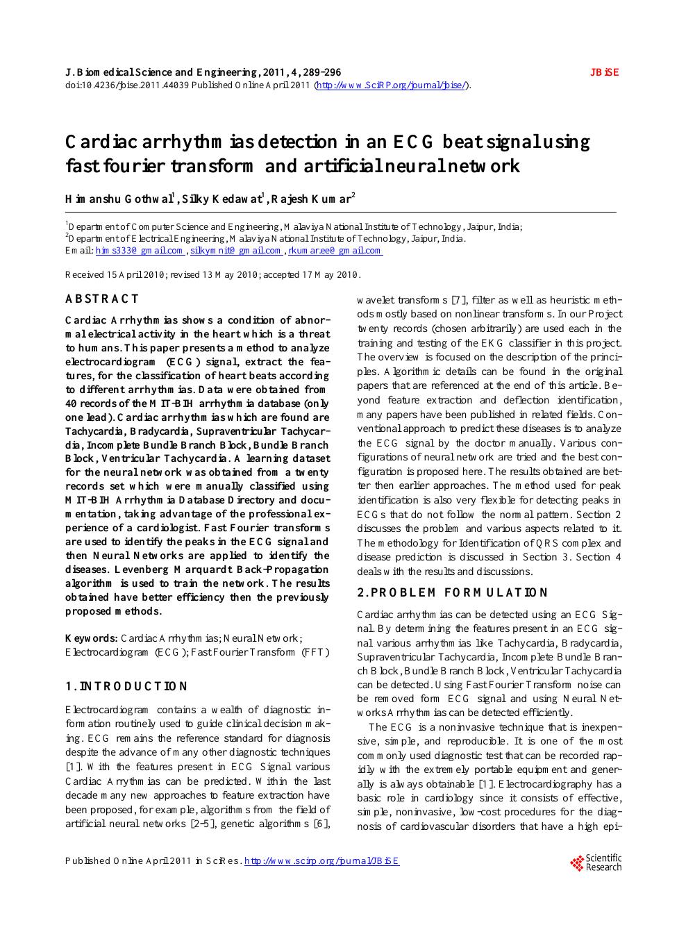 Cardiac arrhythmias detection in an ECG beat signal using fast