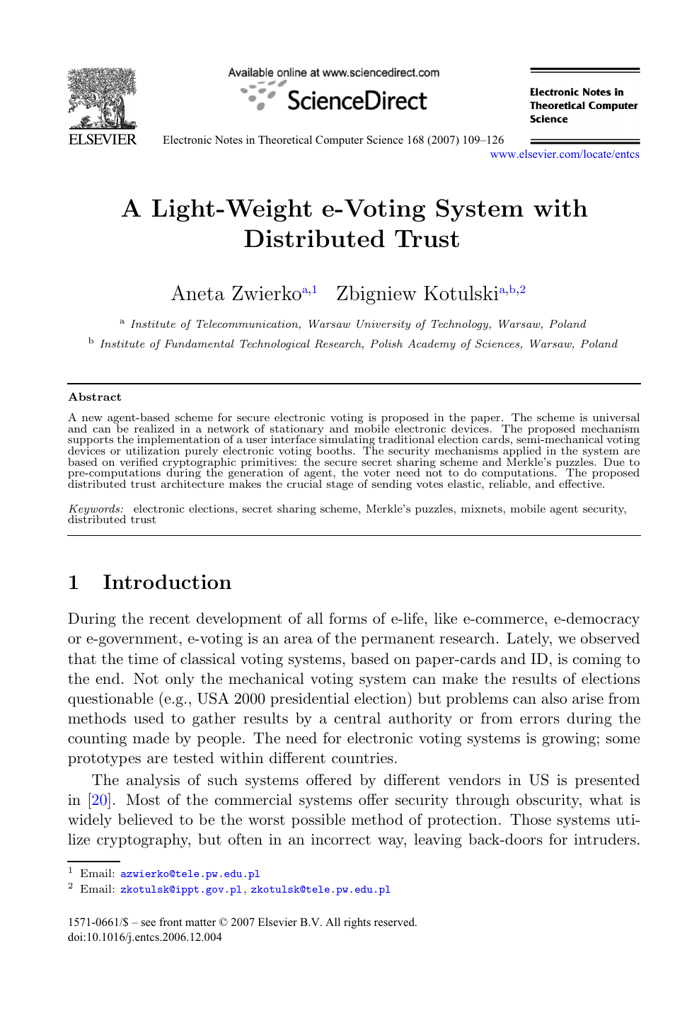 A Light-Weight e-Voting System with Distributed Trust