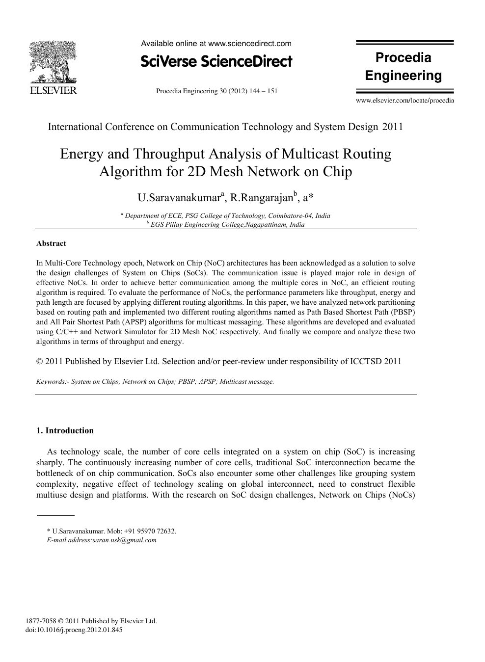 Energy And Throughput Analysis Of Multicast Routing Algorithm For 2d Mesh Network On Chip Topic Of Research Paper In Materials Engineering Download Scholarly Article Pdf And Read For Free On Cyberleninka