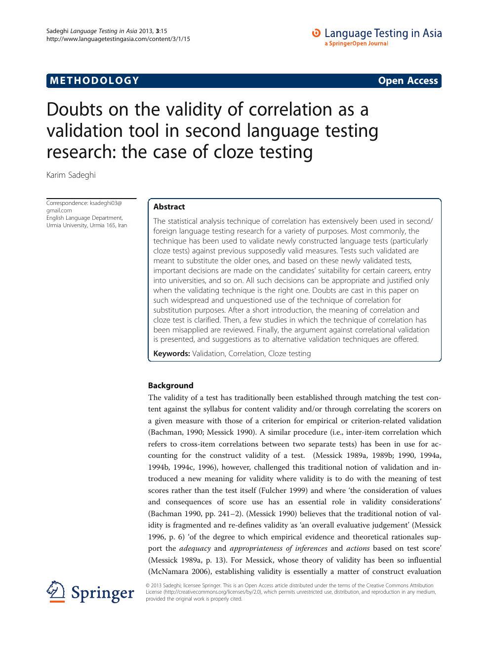 Doubts on the validity of correlation as a validation tool