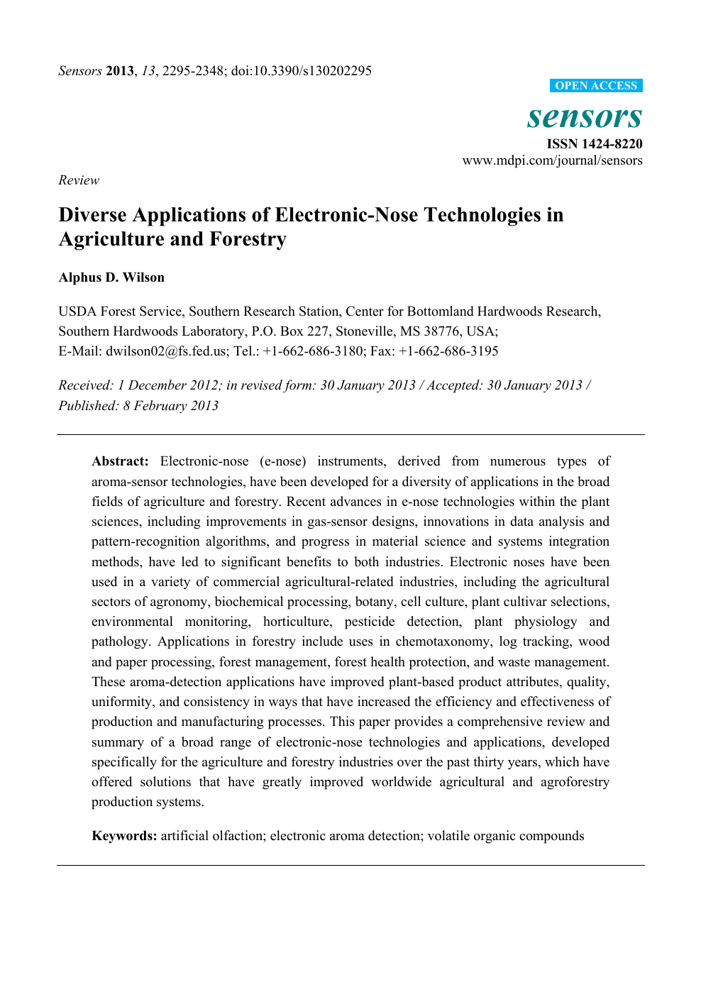 Diverse Applications of Electronic-Nose Technologies in Agriculture