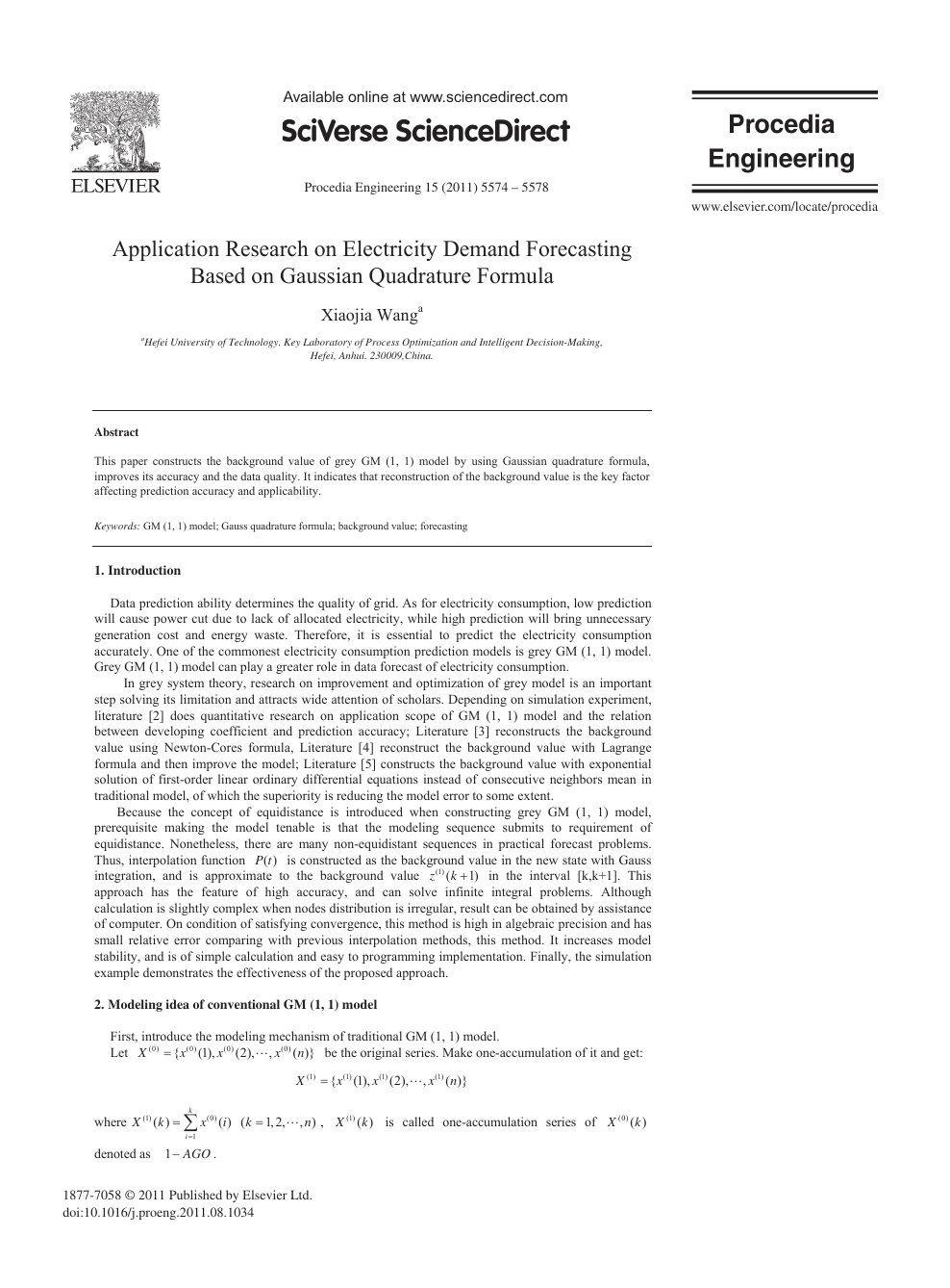 Application Research on Electricity Demand Forecasting Based