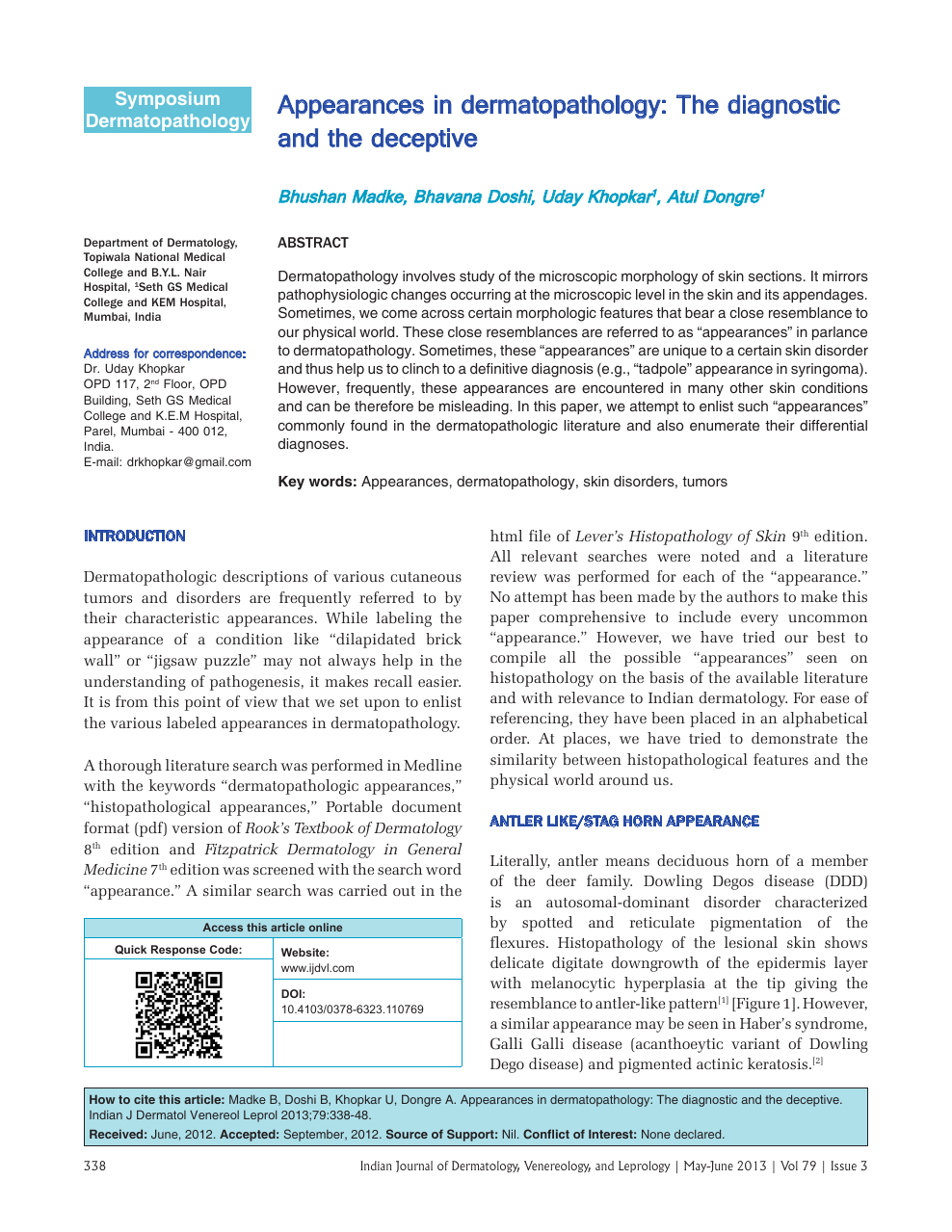 Appearances in dermatopathology: The diagnostic and the