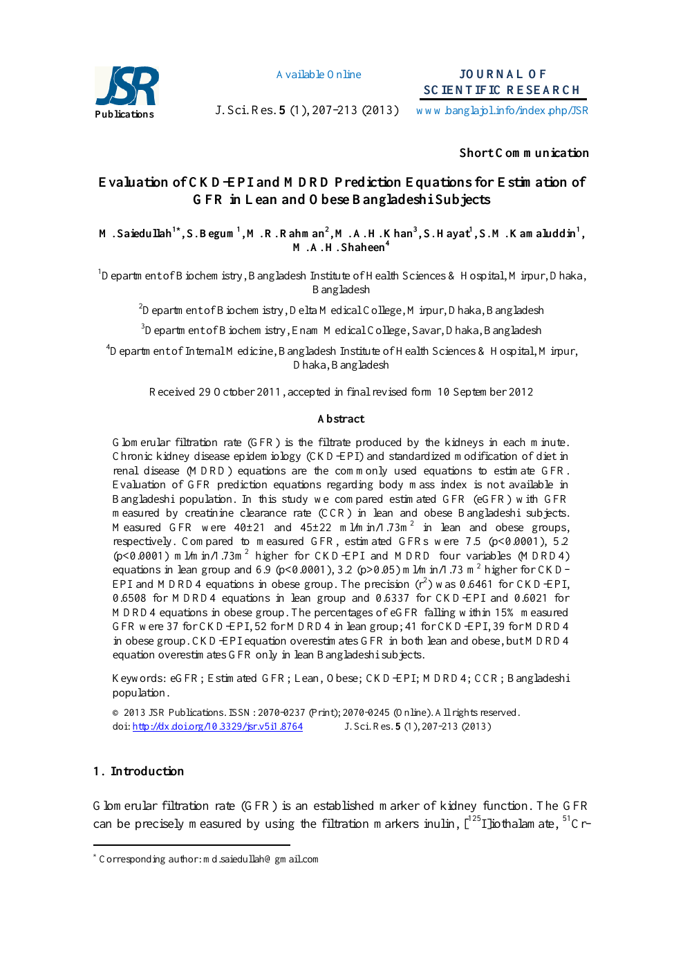 Evaluation of CKD-EPI and MDRD Prediction Equations for
