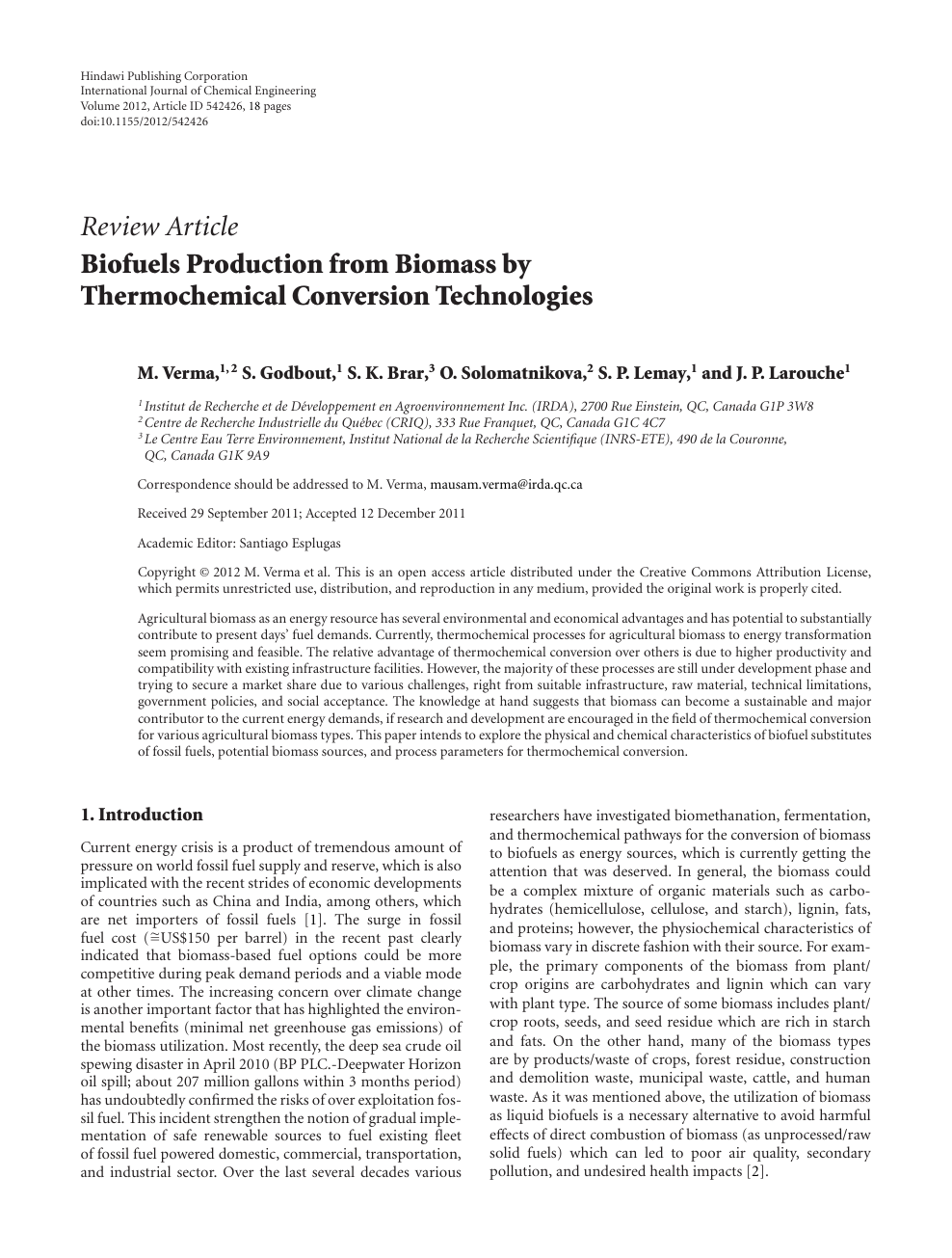 Biofuels Production From Biomass By Thermochemical