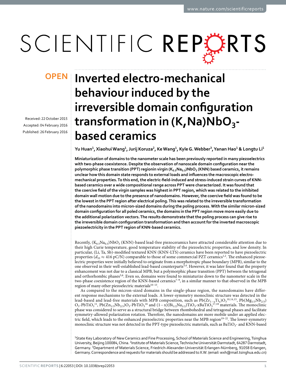 Inverted electro-mechanical behaviour induced by the irreversible