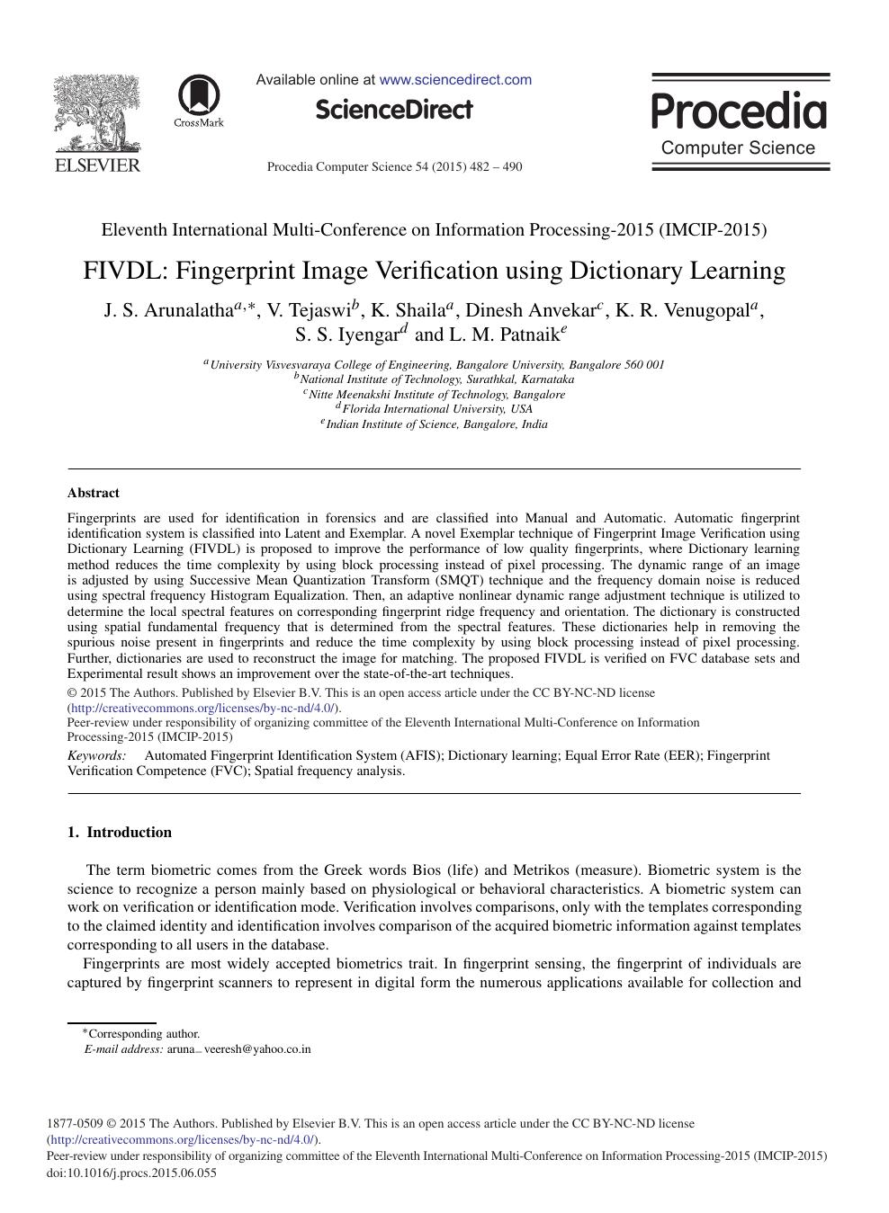 FIVDL: Fingerprint Image Verification using Dictionary