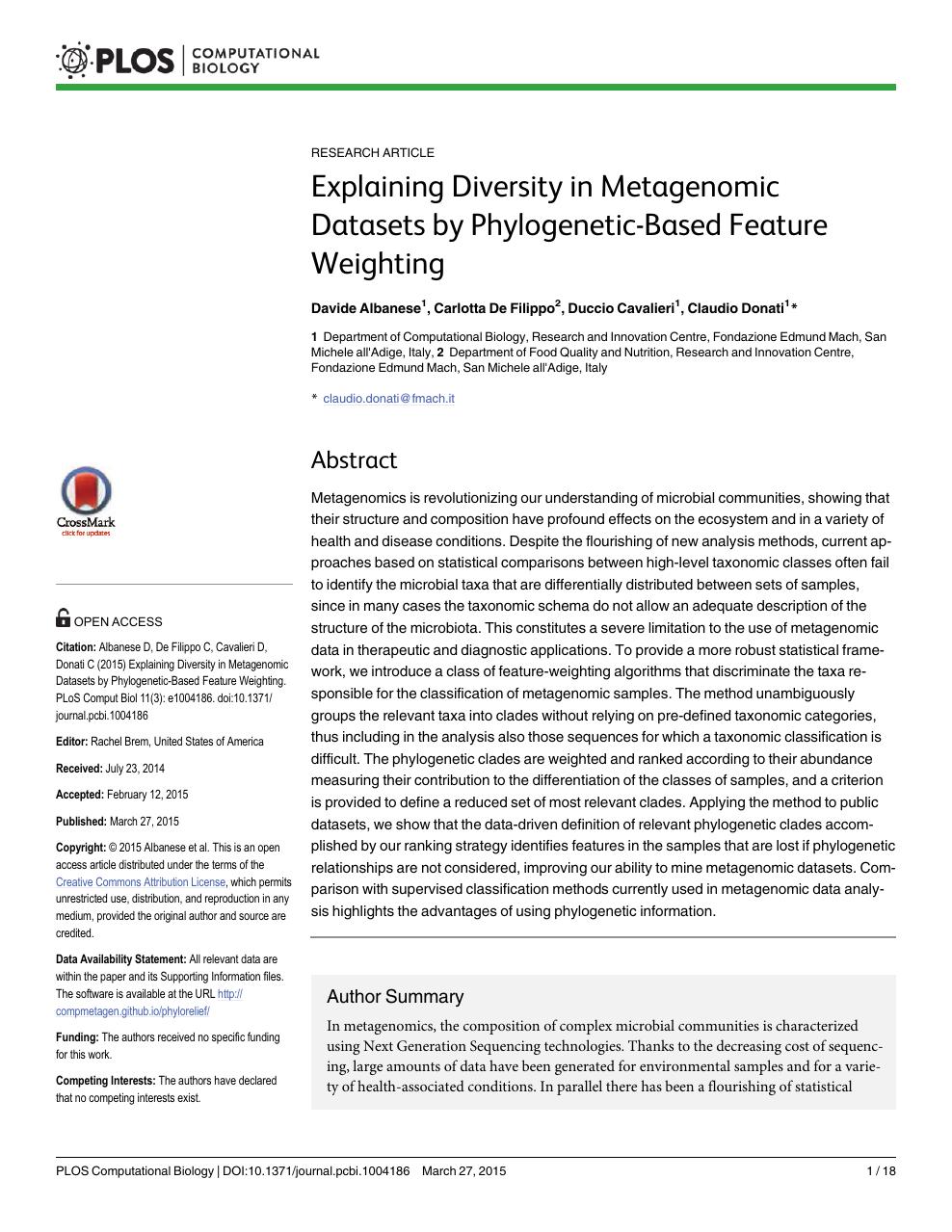 Explaining Diversity in Metagenomic Datasets by Phylogenetic