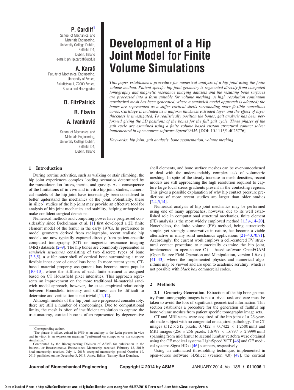 Development of a Hip Joint Model for Finite Volume