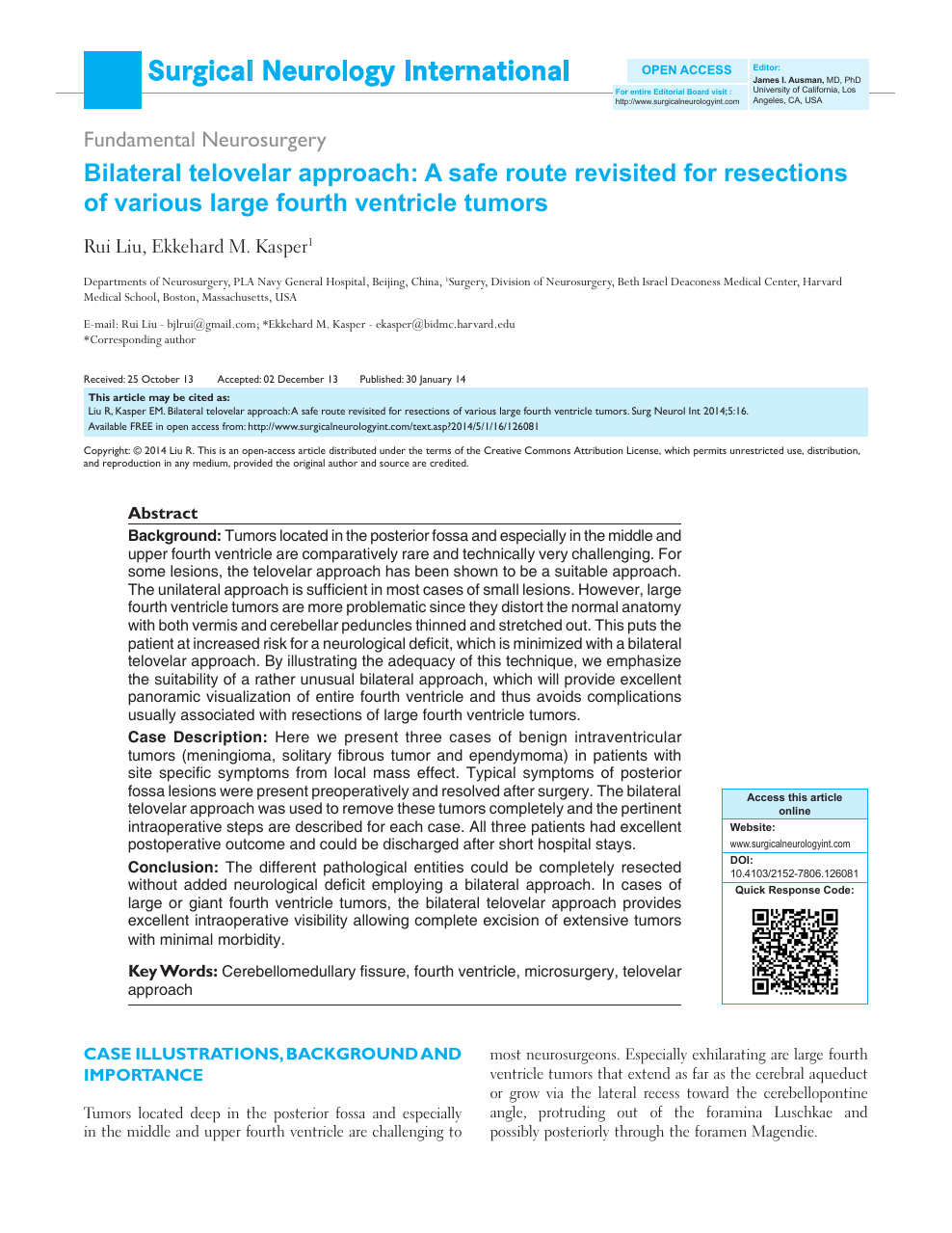 Bilateral telovelar approach: A safe route revisited for resections