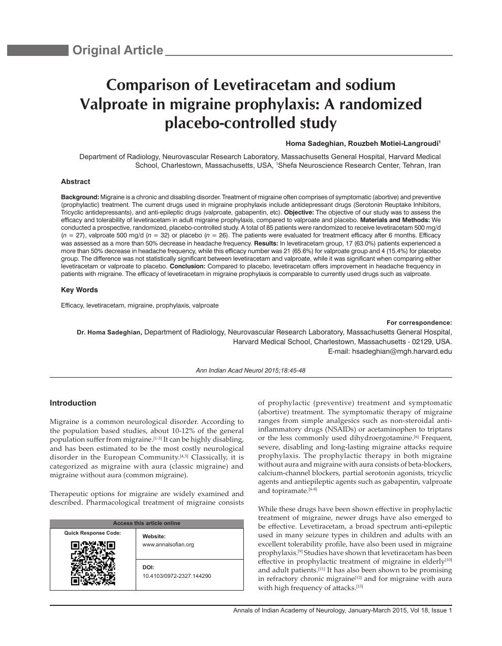 Comparison of Levetiracetam and sodium Valproate in migraine