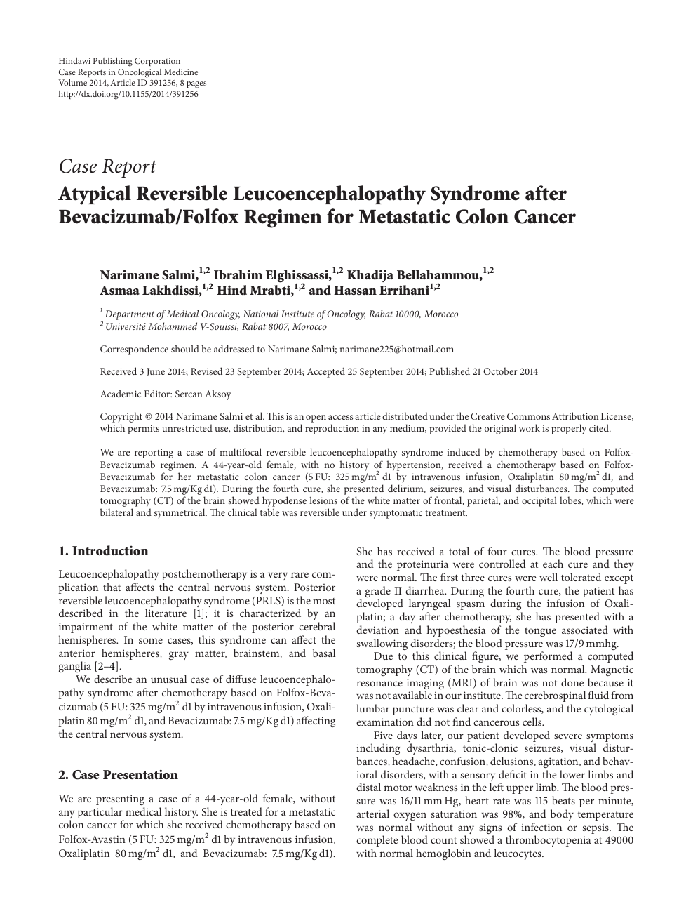 Atypical Reversible Leucoencephalopathy Syndrome After Bevacizumab Folfox Regimen For Metastatic Colon Cancer Topic Of Research Paper In Clinical Medicine Download Scholarly Article Pdf And Read For Free On Cyberleninka Open Science Hub