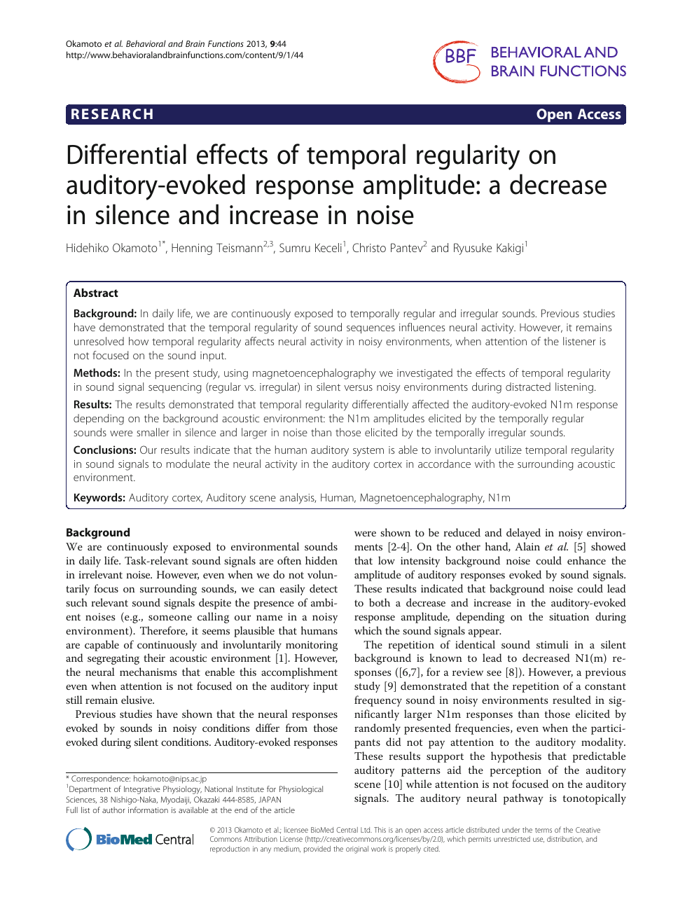 Differential effects of temporal regularity on auditory