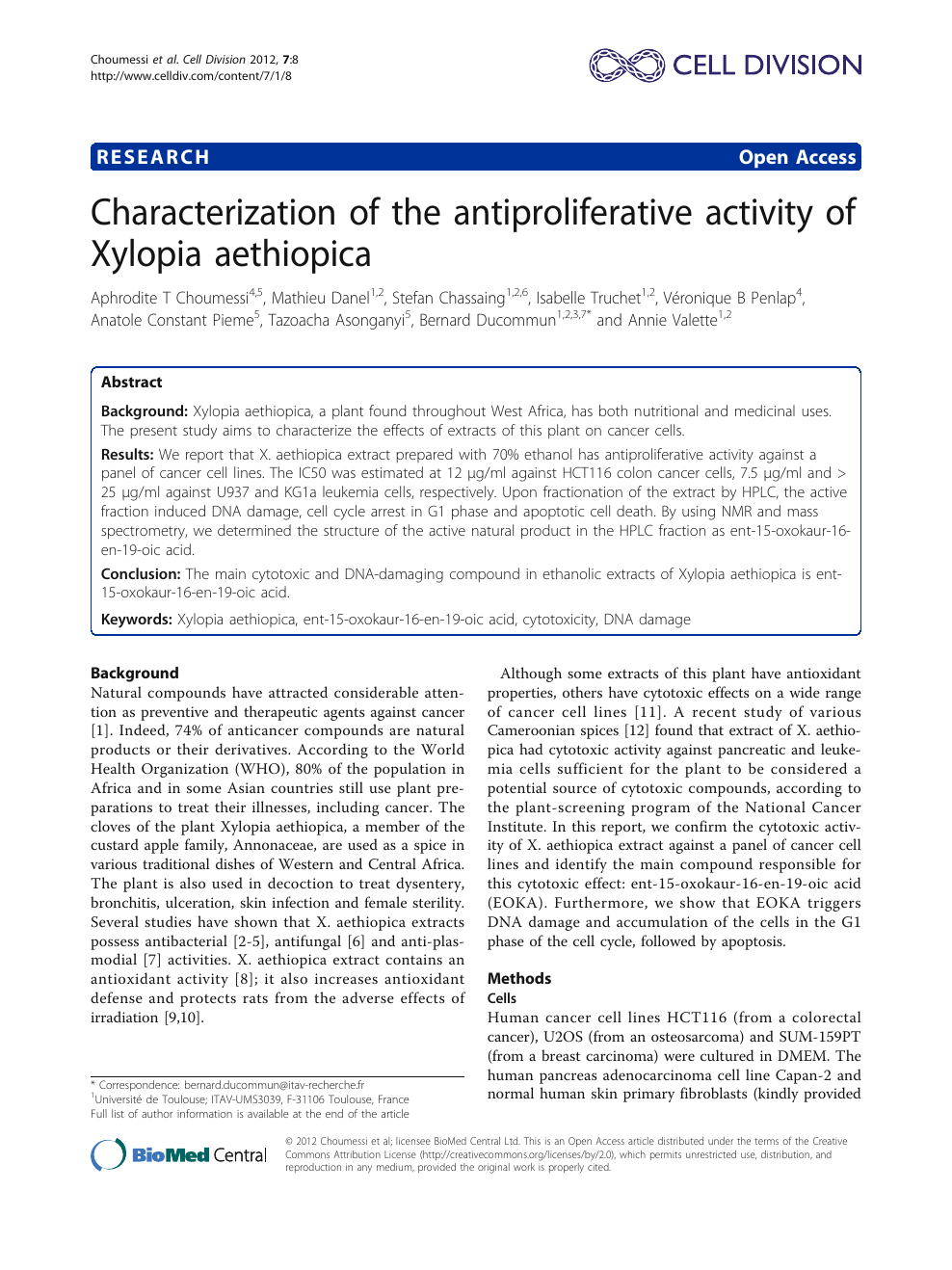 Characterization Of The Antiproliferative Activity Of Xylopia Aethiopica Topic Of Research Paper In Biological Sciences Download Scholarly Article Pdf And Read For Free On Cyberleninka Open Science Hub
