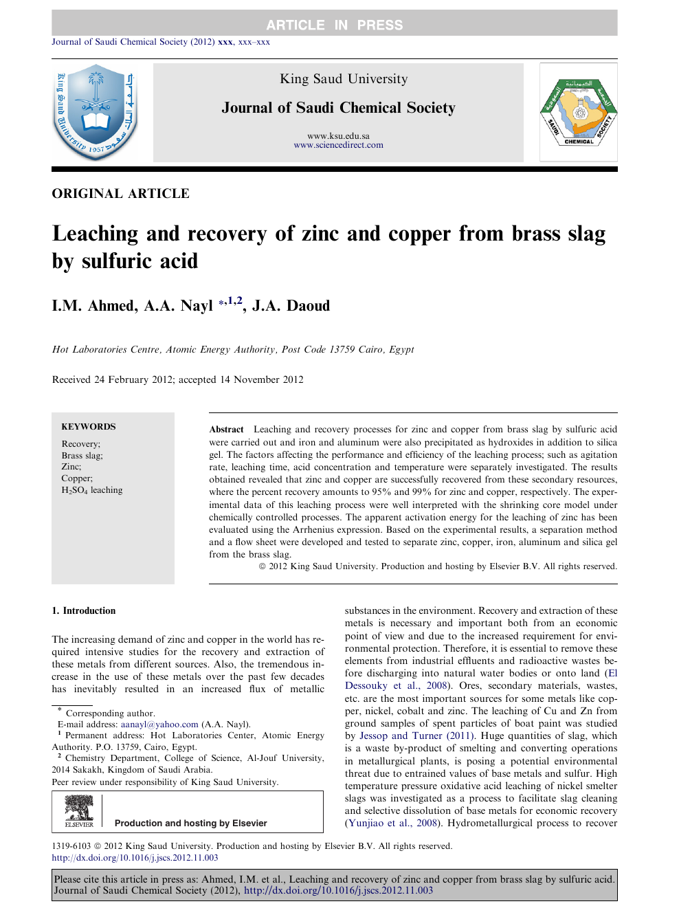 Leaching and recovery of zinc and copper from brass slag by