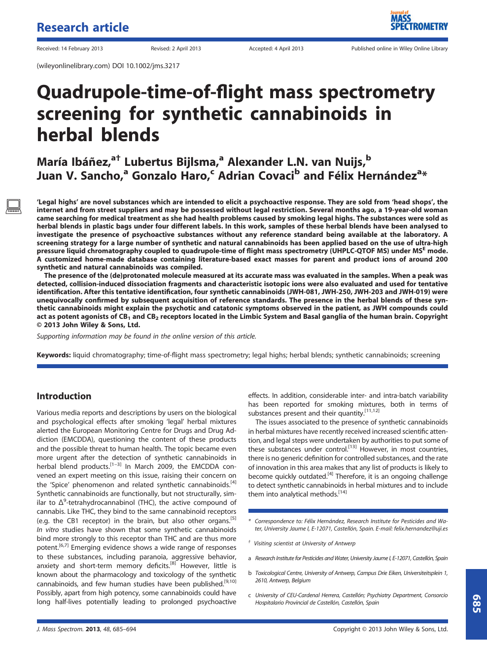 Quadrupole-time-of-flight mass spectrometry screening for synthetic