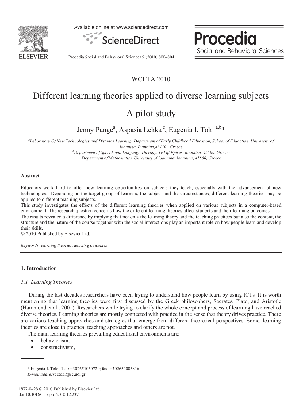 Different learning theories applied to diverse learning subjects A ... 76f5a289e6