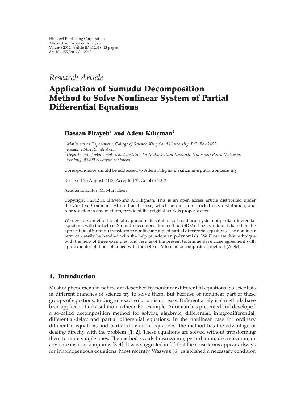 Application of Sumudu Decomposition Method to Solve