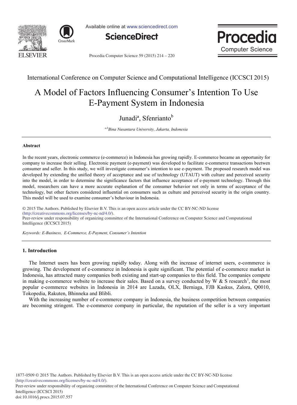 A Model of Factors Influencing Consumer's Intention To Use E-payment