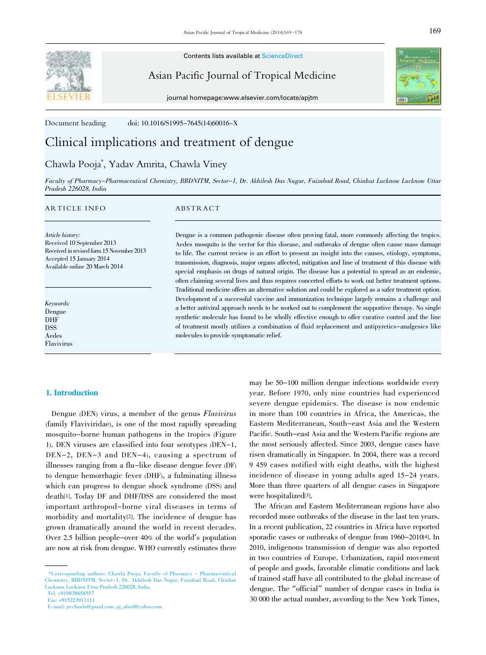 Clinical implications and treatment of dengue – topic of research