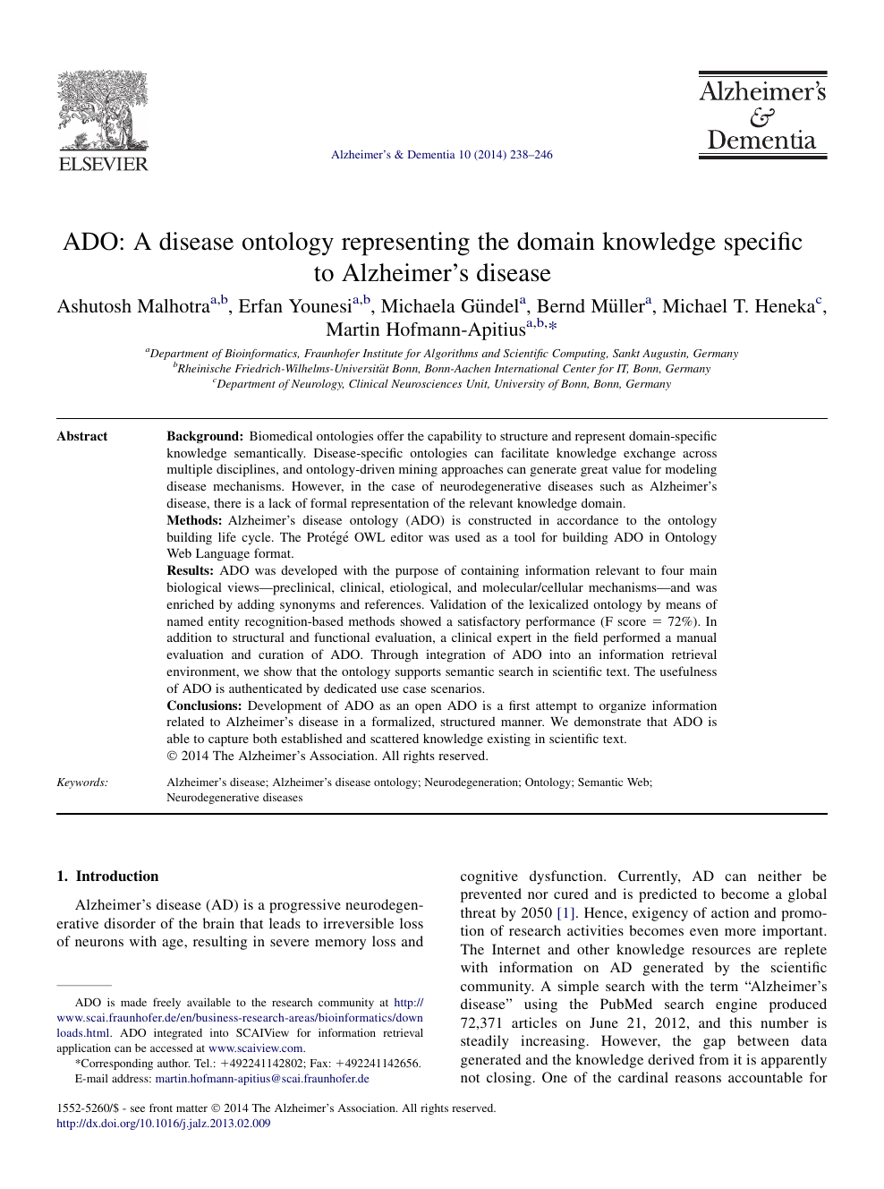 ADO: A disease ontology representing the domain knowledge
