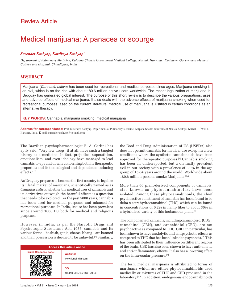 Medical Marijuana Research Paper